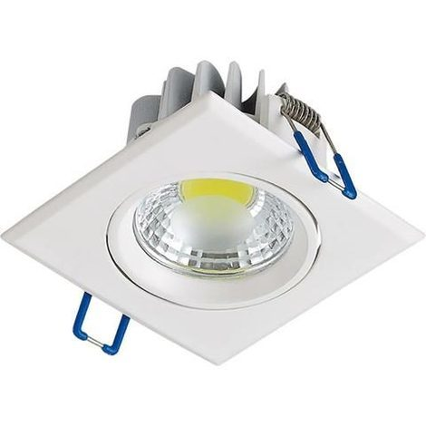 Spot LED downlight carré blanc 5W (Eq. 50W) Dim 90x90mm
