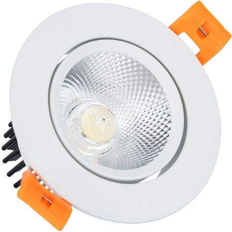 Spot LED Downlight COB Orientable Rond 7W Blanc Blanc Froid 6000K - Blanc Froid 6000K
