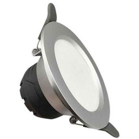 Spot LED Downlight Encastrable 6W Rond ARGENT - Blanc Neutre 4000K - 5500K