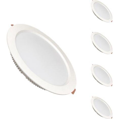 Spot LED Downlight Plat Rond 30W Blanc (pack de 5) - Blanc Chaud 2300K - 3500K