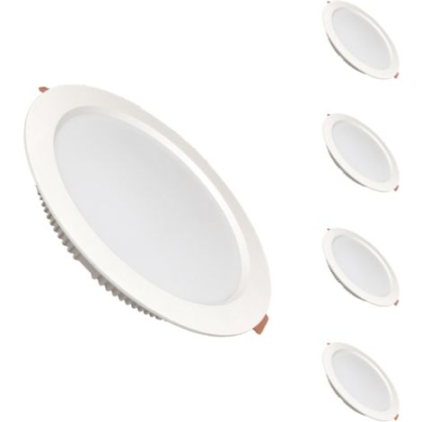 Spot LED Downlight Plat Rond 30W Blanc (pack de 5) - Blanc Neutre 4000K - 5500K