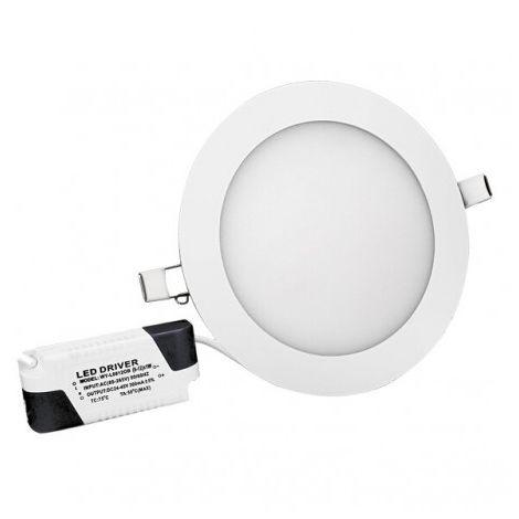 Spot LED downlight rond ultra plat - 12W 3000K - Blanc chaud