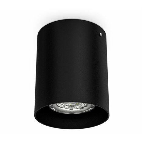 Spot LED en saillie noir éclairage plafond métal rond douille GU10