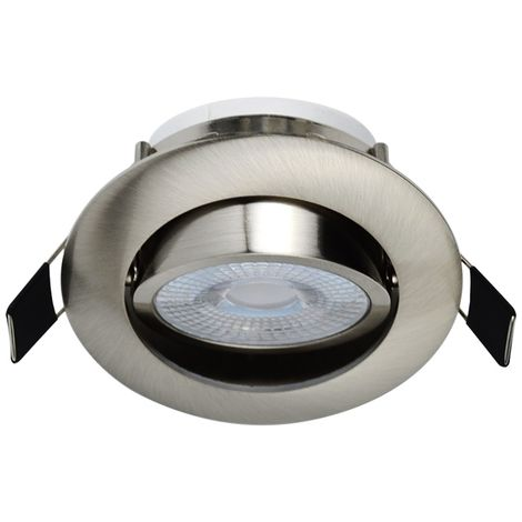Spot LED Encastrable Alu Brossé 7W Blanc Neutre 560lm source de lumière remplaçable