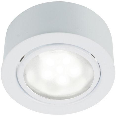 Spot LED encastrable blanc, diamètre 6,6 cm, MERCUR