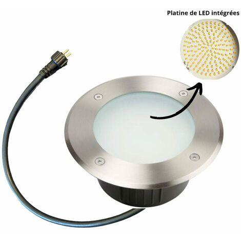 Spot led encastrable extérieur 230V blanc froid - 144 led - 700 lumens - 230V - Diam 175mm