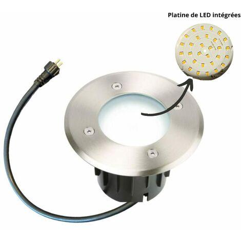 Spot led encastrable extérieur 230V Blanc froid - Inox 316 - Diam 12 cm