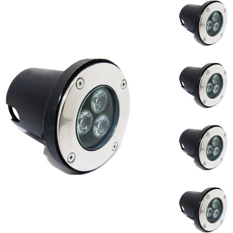 Spot LED Encastrable Extérieur IP65 220V Sol 3W 80 (Lot de 5)