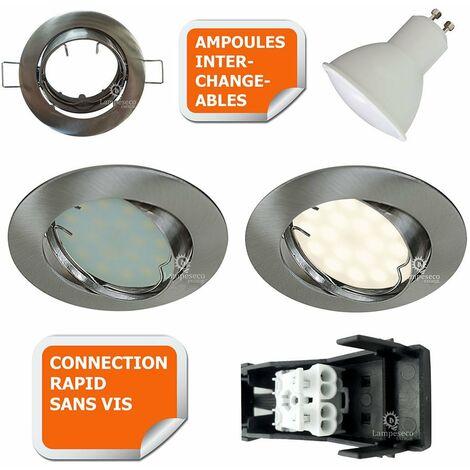 SPOT LED ENCASTRABLE ORIENTABLE ALU BROSSE AVEC AMPOULE GU10 230V eq. 50W, BLANC CHAUD