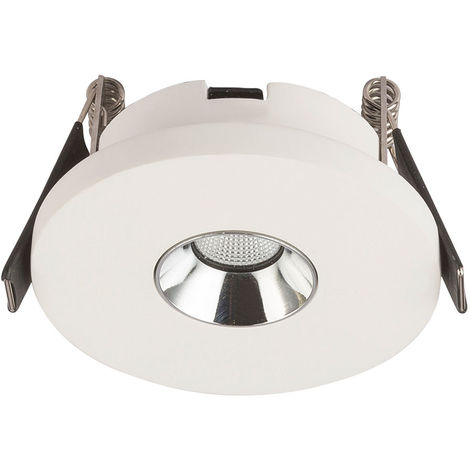 Spot LED encastrable, plâtre blanc, D 9 cm, CHRISTINE