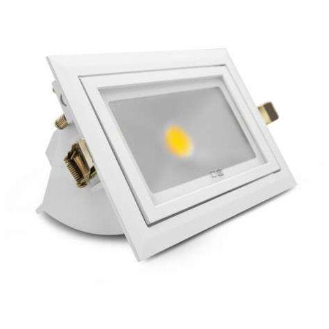 Spot LED Encastrable Rectangulaire Orientable Blanc 30W Blanc Chaud 3000K