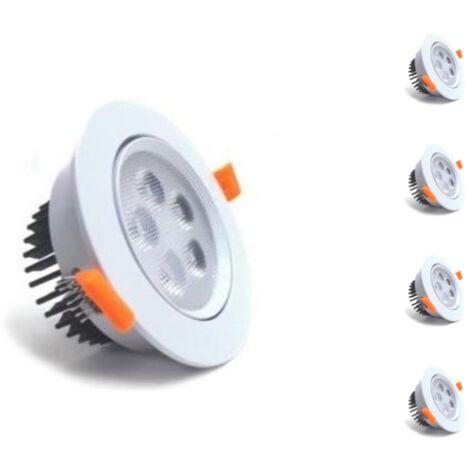 Spot LED Encastrable Rond 5W 80 Orientable (Pack de 5)