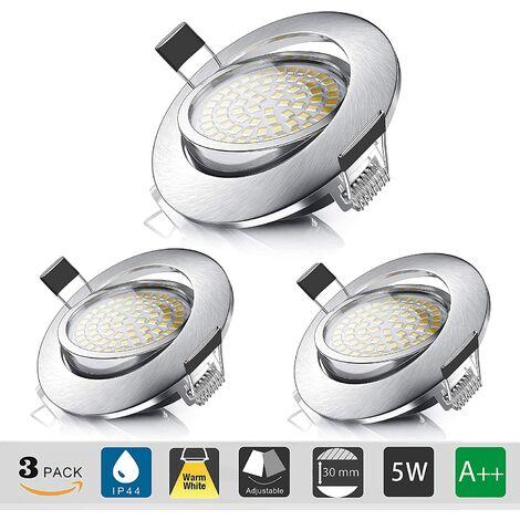Spot LED Encastrable,Plafonnier Encastré 5W Equivalente de 60W Ampoule halogène,Blanc Chaud 3000K 550LM,Projecteur Orientable IP44 pour Salle de Bain,Salon,Couloir (lot de 3) [Classe énergétique A++]