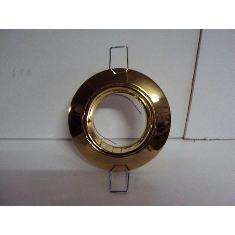 Spot LED encastré doré 6W fixe diam 85mm avec lampe GU.3 12V et alim 230V TRAJECTOIRE