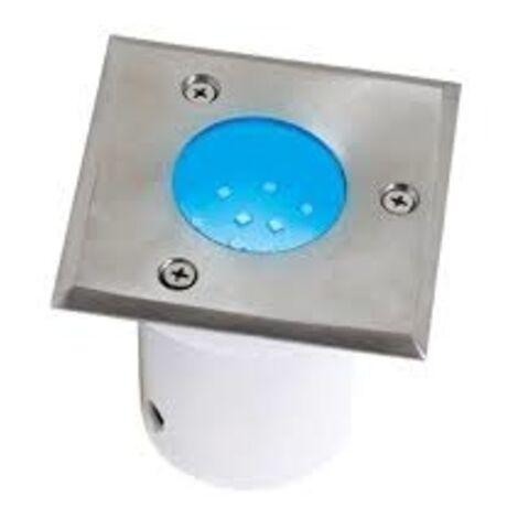 Spot LED étanche carré bleu 1.2W IP67 encastrable au sol Dim. 95x95x95mm