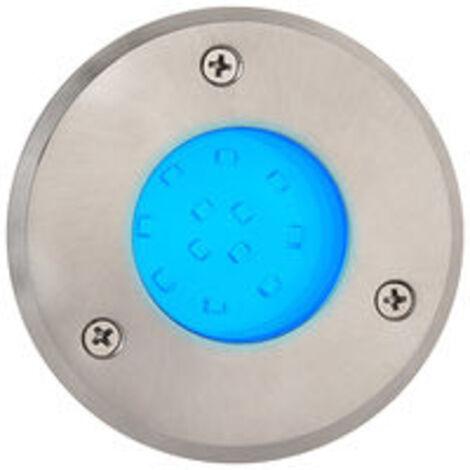 Spot LED étanche rond bleu 1.2W IP67 encastrable au sol Diam. 95mm