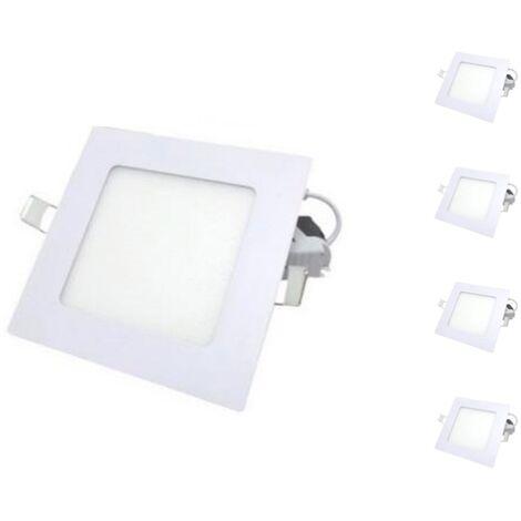 Spot LED Extra Plat Downlight Carré 6W Blanc (Pack de 5) - Blanc Froid 6000K - 8000K