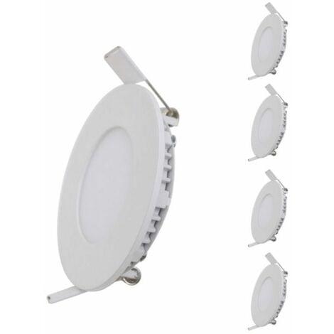 Spot LED Extra Plat Downlight Rond 6W Blanc (Pack de 5)