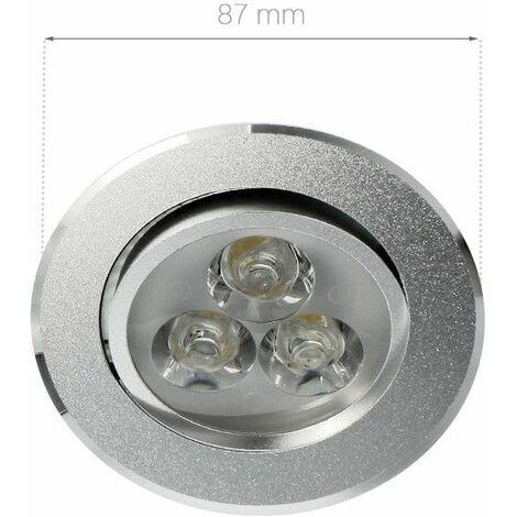 Spot LED intérieur orientable et encastrable 3W focus | Variation de lumière Non dimmable - Température de couleur Blanc Lumière du jour - Finition Aluminium - Tension 180-230 V (AC 50-60Hz) - Angle de diffusion 30° - Indice de Protection IP22 - Puissanc