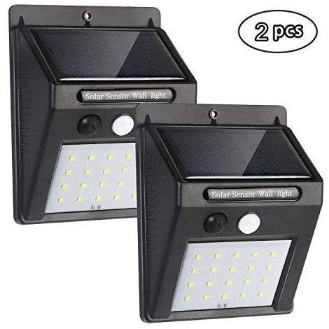 Spot LED Lampe Solaire, Lampe de Sécurité pour Capteur de Mouvement Solaire, Applique Murale Sans fil étanche à la Lumière