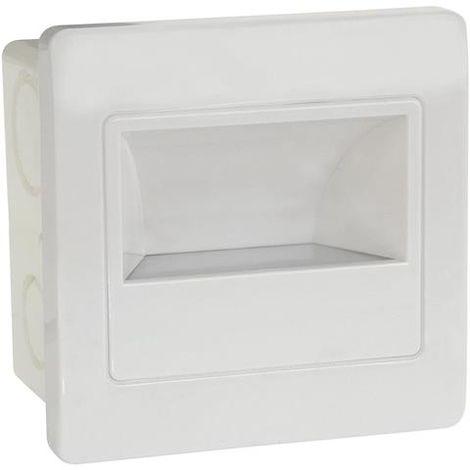 Spot LED mural carré blanc avec détecteur micro-ondes 2W (Eq. 16W) 4200K Dim. 86x86mm