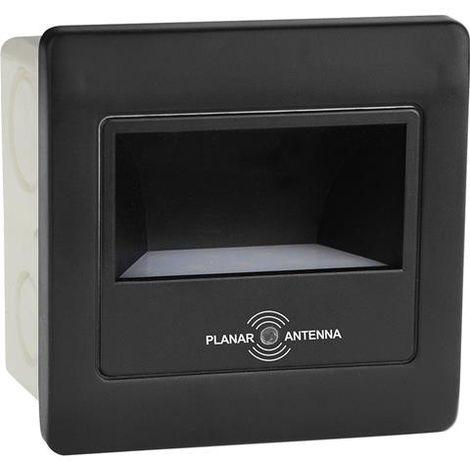 Spot LED mural carré noir avec détecteur micro-ondes 2W (Eq. 16W) 4200K Dim. 86x86mm
