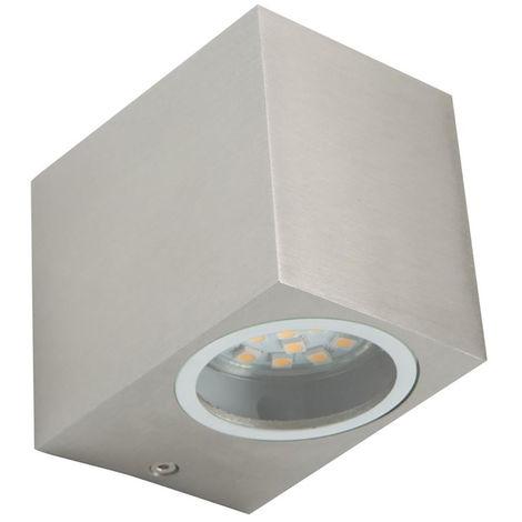 Spot LED mural vers le bas de la lampe extérieure façades terrasse éclairage lampe en aluminium argent Smartwares 10.011.55
