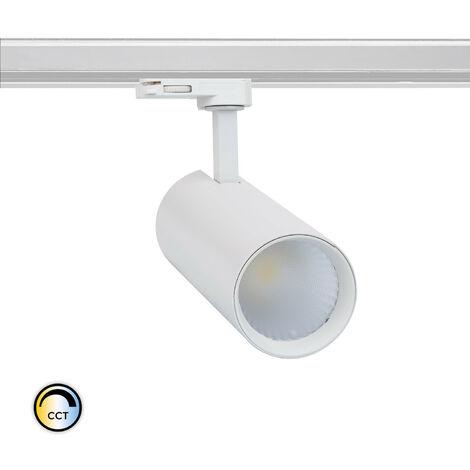 Spot LED New Bertha 30W Blanc CCT LIFUD pour Rail Triphasé (3 Allumages) Sélectionnable (Chaud-Neutre-Froid) - Sélectionnable (Chaud-Neutre-Froid)