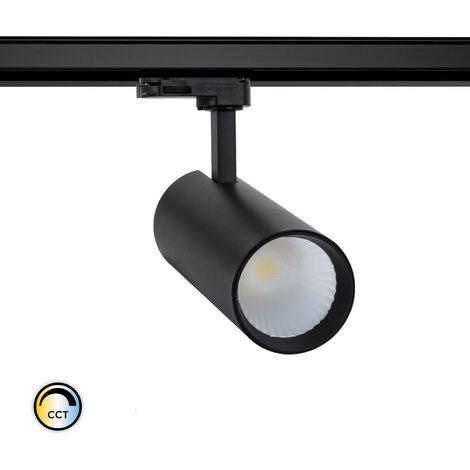 Spot LED New Bertha 30W Noir CCT LIFUD pour Rail Triphasé (3 Allumages) Sélectionnable (Chaud-Neutre-Froid) - Sélectionnable (Chaud-Neutre-Froid)