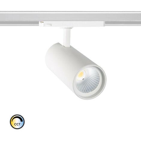 Spot LED New d'Angelo 30W Blanc CCT LIFUD pour Rail Triphasé (3 Allumages) Sélectionnable (Chaud-Neutre-Froid) - Sélectionnable (Chaud-Neutre-Froid)