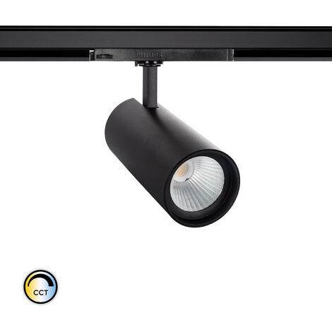 Spot LED New d'Angelo 40W Noir CCT LIFUD pour Rail Triphasé (3 Allumages) Sélectionnable (Chaud-Neutre-Froid) - Sélectionnable (Chaud-Neutre-Froid)