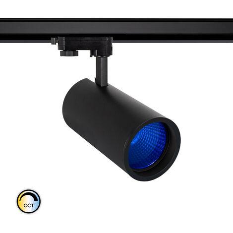 Spot LED New d'Angelo 40W Noir CCT Spécial Alimentation LIFUD avec Crystal pour Rail Triphasé (3 Allumages) Bleu - Bleu