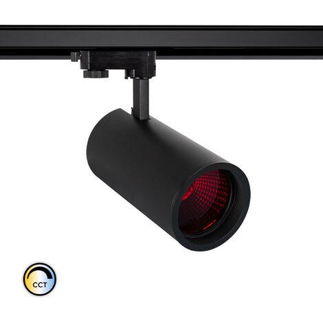 Spot LED New d'Angelo 40W Noir CCT Spécial Alimentation LIFUD avec Crystal pour Rail Triphasé (3 Allumages) Rouge - Rouge