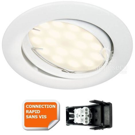 SPOT LED ORIENTABLE BLANC AVEC AMPOULE GU10 230V eq. 50W, BLANC CHAUD