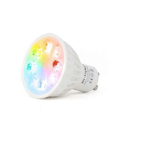 Spot LED RGB+CCT GU10 4W pilotable avec télécommande RF Mi-Light | RGB + CCT