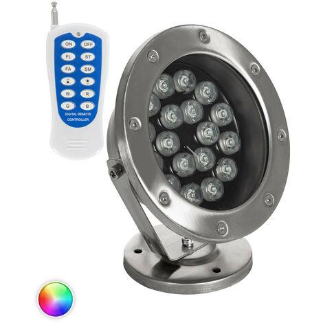 Spot LED RGB Fixation au Sol 12V 18W Submersible IP68 RGB - RGB
