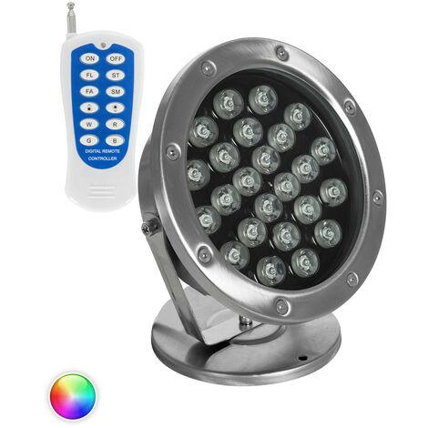Spot LED RGB Fixation au Sol 12V 24W Submersible IP68 RGB - RGB