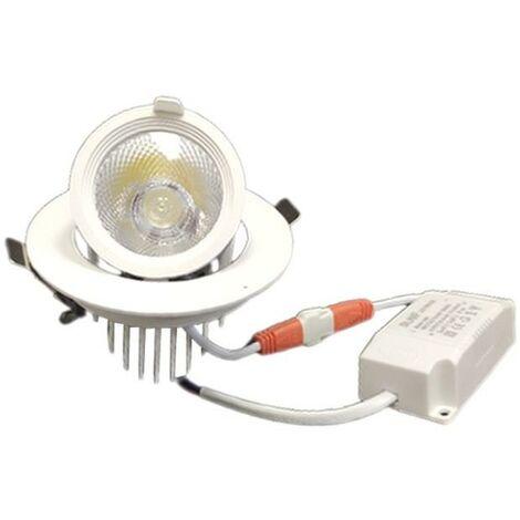 Spot LED Rond Encastrable Orientable BLANC 10W - Blanc Chaud 2300K - 3500K