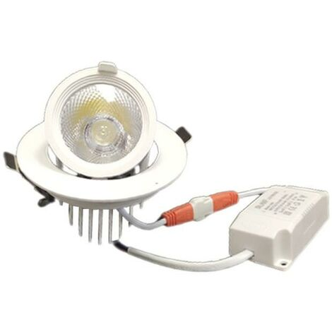 Spot LED Rond Encastrable Orientable BLANC 10W - Blanc Neutre 4000K - 5500K