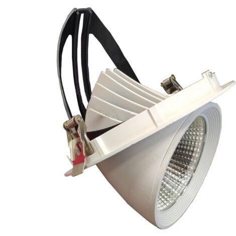 Spot LED Rond Encastrable Orientable BLANC 40W - Blanc Chaud 2300K - 3500K