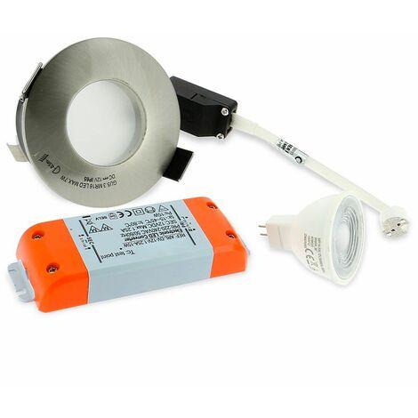 Spot LED salle de bain complet IP65 Acier Bossé 82mm + Ampoule GU10 | Température de Couleur: Blanc chaud 3000K
