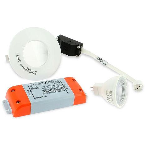 Spot LED salle de bain complet IP65 Blanc 82mm + Ampoule GU10 | Température de Couleur: Blanc chaud 3000K