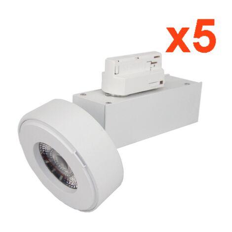 Spot LED sur Rail 12W 38°Monophasé BLANC (Pack de 5)