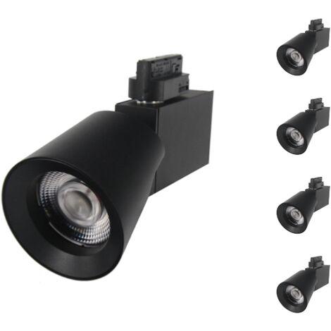 Spot LED sur Rail 25W 38° Monophasé NOIR (Pack de 5) - Blanc Neutre 4000K - 5500K