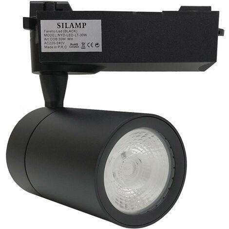 Spot LED sur Rail 30W 80 COB Monophasé NOIR