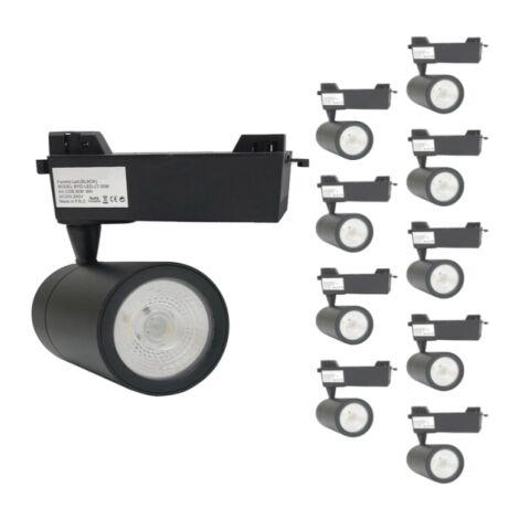 Spot LED sur Rail 30W 80 Monophasé NOIR (Pack de 10)