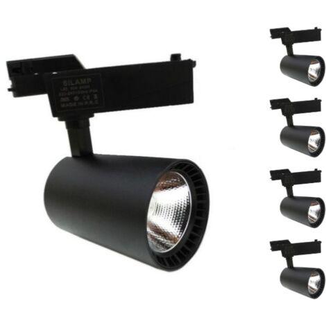 Spot LED sur Rail 30W 80° SMD Monophasé NOIR (Pack de 5) - Blanc Neutre 4000K - 5500K