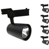 Spot LED sur Rail 30W 80°SMD Monophasé NOIR (Pack de 5) - couleur eclairage : Blanc Neutre 4000K - 5500K