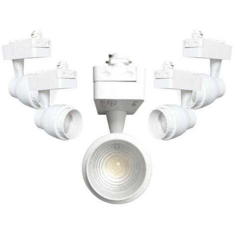 Spot LED sur Rail 30W Multi-angle COB Monophasé BLANC (Pack de 5)