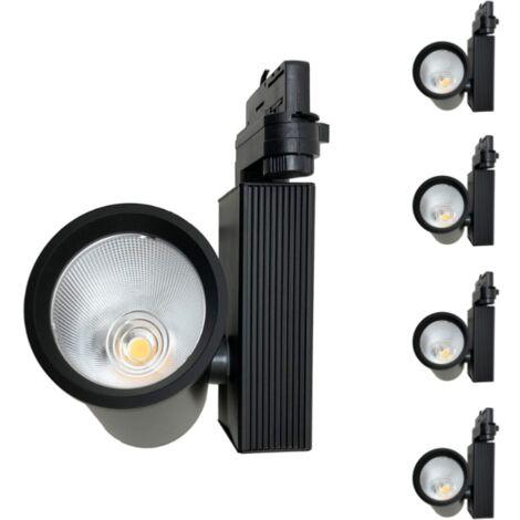 Spot LED sur Rail 35W 80° COB Triphasé NOIR (Pack de 5) - Blanc Froid 6000K - 8000K